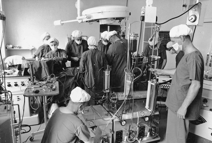 The cardio- thoracic operating theatre in the early 1970s - state of the art in its day.