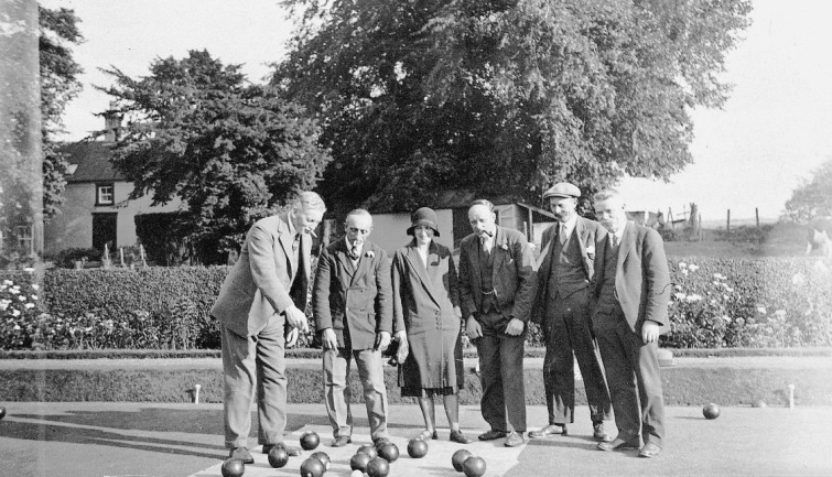 Some well known faces at the bowling green 1921. Left to right, James Taylor Anderson, Willie Donald, Mrs J T Anderson, George Slater, Fred Roger and Andrew Russell
