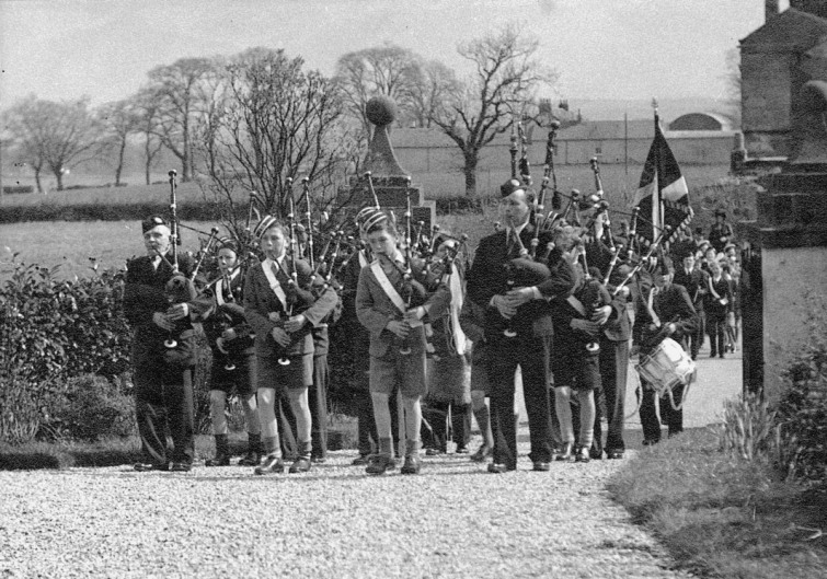 Pipe Band of the 138th (Mearnskirk) Glasgow Company Boys' Brigade late 1940s.