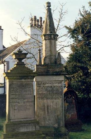 The Covenanter gravestone in Eaglesham Churchyard.