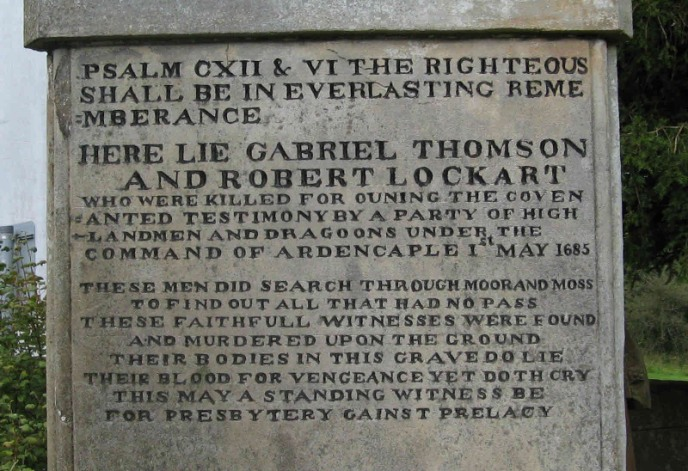 The inscription on the Covenanter  gravestone in Eaglesham Churchyard.