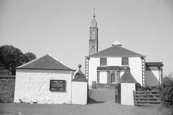 Mearns Parish Church with watch posts at gate
